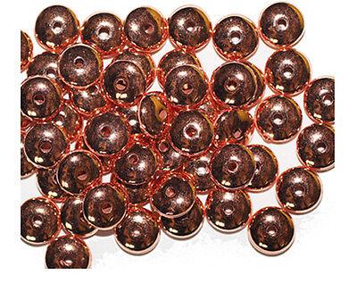 Bright Copper Bead - 6x10mm Rondelle Bright Copper Metalized Metallic Beads