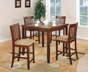 FREE Delivery in Kelowna! 5 PC Square Faux Marble Bar Height Dining Table Set! Brand New!