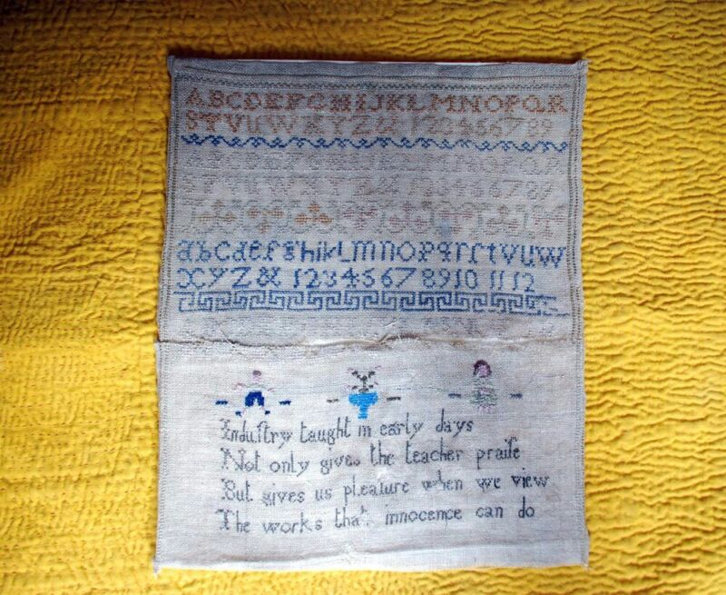 ANTIQUE EMBROIDERED NEEDLEWORK SAMPLER ALPHABET with POETRY 1800s
