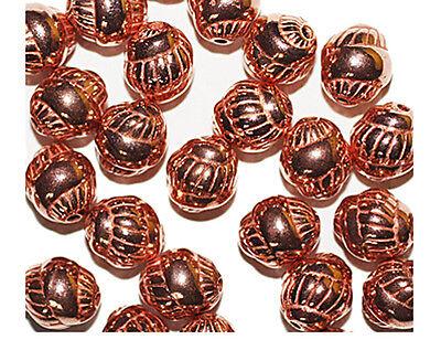 Bright Copper Bead - Snail Swirl Shiny 9mm Bright Copper Metalized Metallic Beads