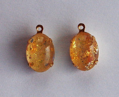 ( VINTAGE ANTIQUE GLASS OVAL PENDANT BEADS • YELLOW OPAL • 14x10mm • OPALS)