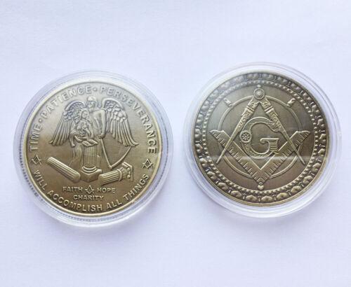 Mason Masonic Freemason Freemasonry Faith Hope Charity Collectible Coin Gift
