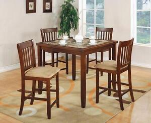 FREE Delivery in Saskatoon! 5 PC Square Faux Marble Bar Height Dining Table Set! Brand New!