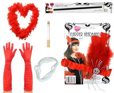 RED FLAPPER KIT FEATHER BOA GLOVES BEADS HEADBAND CIGARETTE HOLDER FAKE CIG - Flapper Kostüm Kit