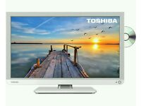 "White Toshiba 32"" LED tv built in dvd combi USB media player HD freeview full hd 1080p."