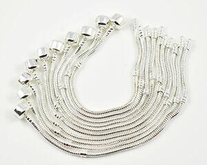 10-pcs-Snake-Chain-Fit-European-Beads-Silver-Charm-Bracelet-Choose-Size