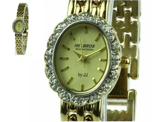 SHORT SALE - ELEGANT AND SIMPLECLASSIC WATCH with 4 DIAMOND STUDS by HELBROS