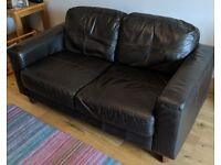 Brown leather 2 seater sofa, setee, couch
