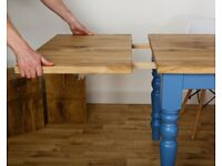Farmhouse Solid Characterful Rustic Extendable Oak Table Modern Dining Kitchen Table Extending