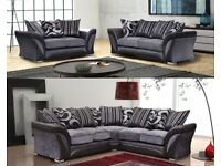 **QUICK AM/PM DELIVERY** NEW SHANNON CORNER OR 3 AND 2 SEATER FABRIC AND LEATHER SOFA BROWN OR BLACK
