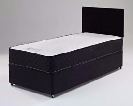 🔥🔥💥BASE £29 ONLY🔥🔥💥NEW Single Divan Bed w 9 INCH DUAL-SIDED DEEP QUILT SEMI ORTHO Mattress £69