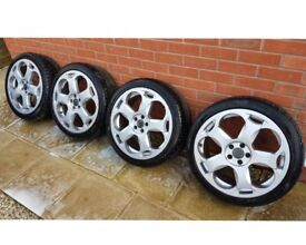 "Set of 4 LAMBORGHINI 18"" Lambo Rep Alloy Wheels with tyres 5X100 - VERY GOOD CONDITION"