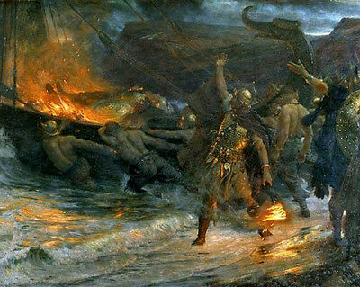 Viking Funeral For Germanic Warrior Painting 8x10 Real Canvas Art Print (Viking Funeral)