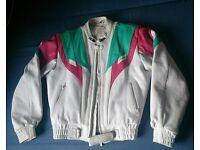 White Leather Motorbike Jacket size M/L