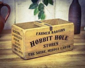 Brand New Lord of the Rings Farmer Baggins Hobbit Hole Wooden Vintage Storage Box (medium)