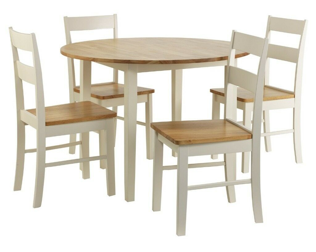 Ex display argos home chicago round solid wood dining table 4 chairs