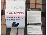 Samyang 85mm F1.4 AS IF UMC manual focus lens for Sony E Mount (full frame)