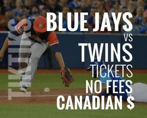 Blue Jays vs Twins Tickets! July 23 - July 25 No fees, CAD$ and cheaper than StubHub/Ticketmaster! Canada Day Series!