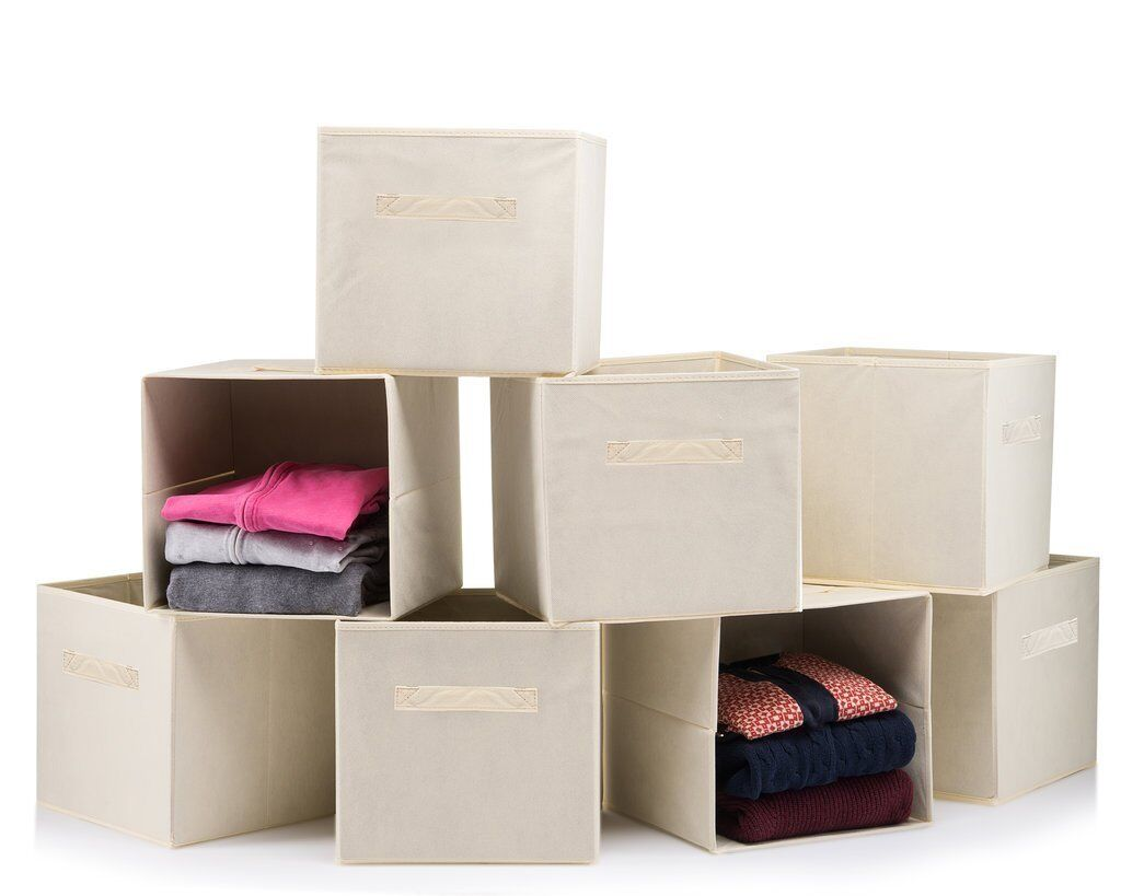 Foldable Storage Boxes - Cube Basket Storage Bins - Beige, C