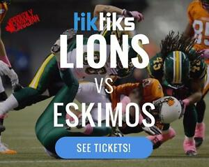 Edmonton Eskimos vs. BC Lions Saturday June 24. CFL tickets sold by Canadians in CAD $. Mobile Entry available