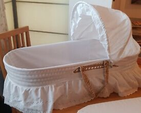 wicker Moses basket with mattresses, Good condition. covers are removable for washing
