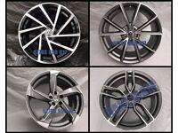 "NEW ALLOY WHEELS 19"" INCH ALLOYS GOLF PASSAT CADDY SCIROCCO GTD R GTI VOLKSWAGEN BLACK GREY (VW 1)"