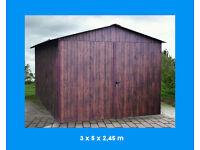 NEW ! Durable Garage Metal Shed 9,84ft (300cm) x 16,4ft (500cm) Walnut Wood