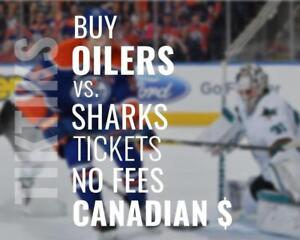 Oilers vs Sharks tickets! Dec 18th We're like Ticketmaster/StubHub but no fees, CA$, cheaper 5% off for new customers