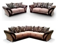 SOFA SALE**LOW PRICE**BRAND NEW SHANNON CORNER OR 3+2 SEAT SOFA SET IN BROWN/BEIGE, BLACK/GREY COLOR