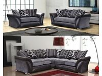 SHANNON CORNER OR 3 + 2 SEATER SOFA, DUAL ARM CORNER, SWIVEL CHAIR QUACK DELIVERY BLACK,GREY,BROWN