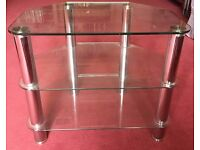 TV Glass and Chrome TV Stand
