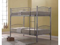 BRAND NEW SINGLE METAL BUNK BED FRAME WITH CHOICE OF MATTRESSES-**SAME DAY **