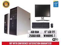 "HP Dual Core Windows 7 Full PC Computer System   17"" TFT Monitor Screen   Wifi"