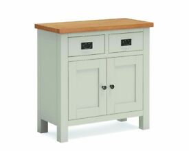 New grey & oak mini sideboard fully built and in stock Only £215