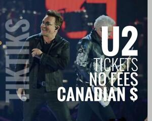 U2 tickets June 5 and 6! Below face value No fees, CAD$, awesome customer service, $10 off for new customers!