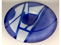 LINDA CHARLES -ASPECTS OF BLUE- LARGE SIGNED LTD ED ART GLASS PLATE DISH CHARGER