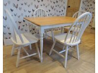 Farmhouse Table and 4 Chairs. Shabby Chic, White, Cream, Painted