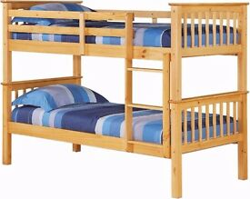 SINGLE Wooden solid pine Bunk Bed CONVERTABLE IN TO 2 SINGLES BED WITH MATTRESSES