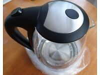 GLASS KETTLE, ALL GLASS SPOUT, BRAND NEW BOXED,