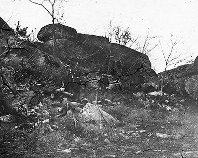 New 8x10 Civil War Photo: Dead Among Rocks Below Little Round Top, Gettysburg