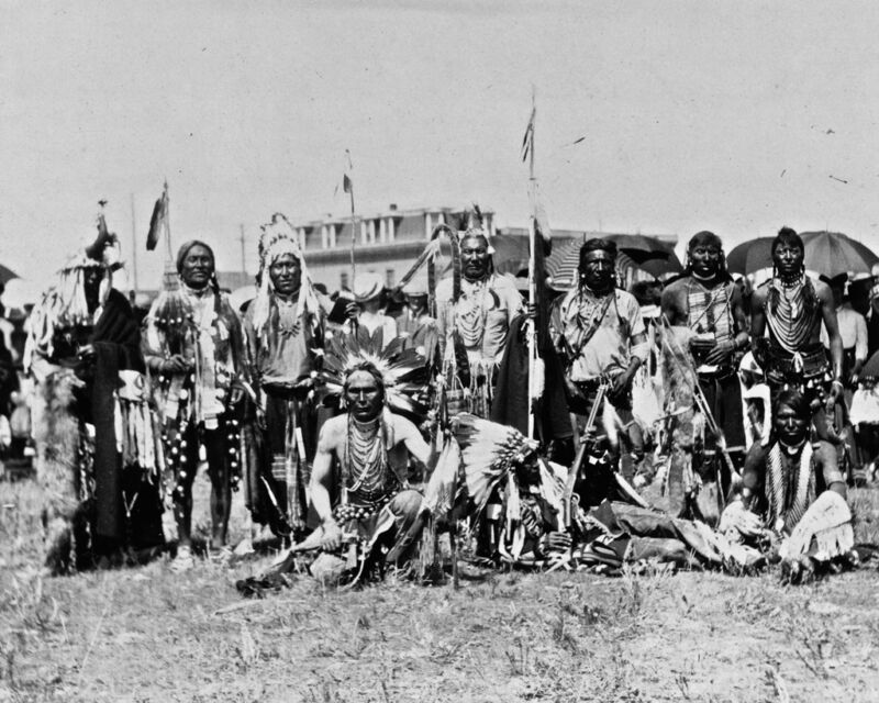 New 8x10 Native American Photo: Chief Running Wolf & Party of Blackfoot Indians