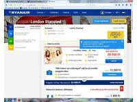 Flight ticket Budapest- Stansted London 18.Oct return 25. Oct