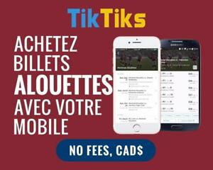 Tous les jeux Alouettes à la pointe de vos doigts! Get our 5 star app and pay NO FEES, CAD$, Mobile Entry no printing