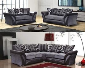 🌷💚🌷 BEST SELLING BRAND 🌷💚🌷NEW SHANNON 3 AND 2 SEATER FABRIC SOFA SET, DUAL ARM CORNER SUITE