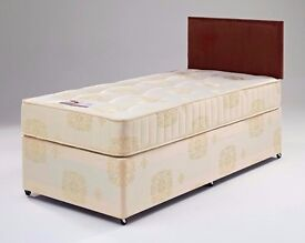 "PAY ON DELIVERY -- Single Divan Bed + 10"" Orthopaedic Mattress -- Brand New"
