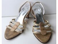 Marrell Gold Sparkle Strappy Leather Sandals - Size 2 Extra Small