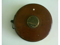 Chesterman of Sheffield vintage tape measure. 66 feet, 4 poles. Leather and brass.