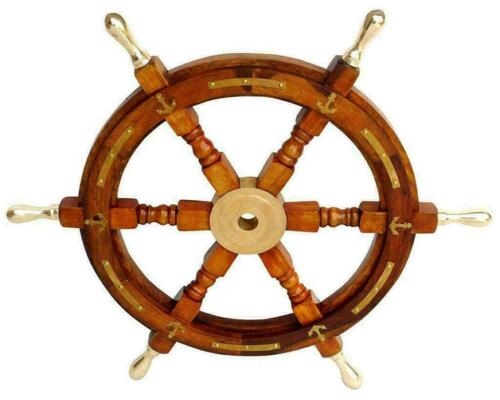 "Wooden Ship Steering Wheel 24"" Nautical Pirate Wood Brass Finishing Wall Boat"