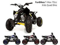 FunBikes 70cc T-Max Pink Kids Quad Bike ATV Off Road 4 Stroke Electric Start