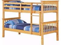 BRAND NEW !!! WHITE WOODEN BUNK BED WITH 2 MATTRESS CAN BE SPLIT IN TO 2 SINGLE BUNK OR KIDS BED